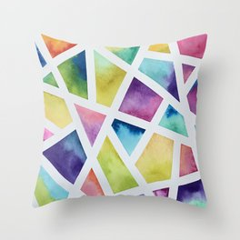 Watercolor Geometric Painting Throw Pillow