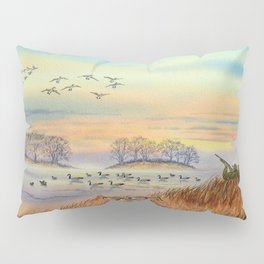 Goose Hunting Season Colorful Painting Pillow Sham