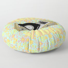 Retro Vibes Record Player Design in Yellow Floor Pillow