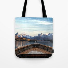 Torres del Paine National Park Chile, The Boat in Patagonia Tote Bag