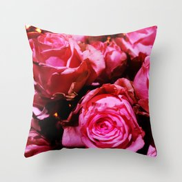 Shabby Chic Brilliant Bright Red Roses Throw Pillow