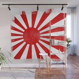 Japanese Imperial Navy Rising Sun Distressed Halftone Denim Flag Wall Mural
