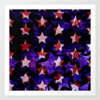 Red and Blue Stars Art Print