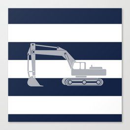 Gray excavator with navy stripes Canvas Print