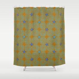 Blue starfish on a green beach Shower Curtain
