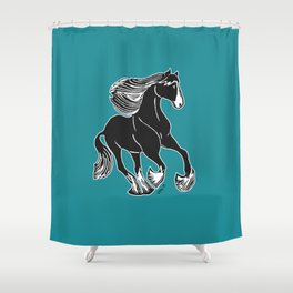 Black & White Horse with Teal Shower Curtain