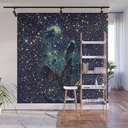 Pillars of Creation GalaxY  Teal Blue & Gold Wall Mural