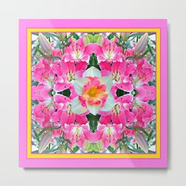 PINK & WHITE SPRING FLOWER GARDEN Metal Print