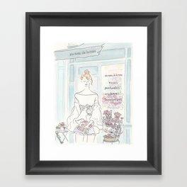 Sweet French Bulldogs in Paris Flower Shop Framed Art Print