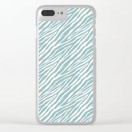 Mint White Zebra Print Clear iPhone Case