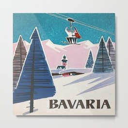 Bavaria, Germany Vintage Ski Travel Poster Metal Print
