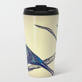 Blue Iridescent Bird Metal Travel Mug