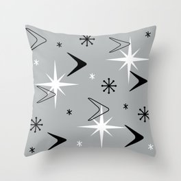 Vintage 1950s Boomerangs and Stars Gray Throw Pillow