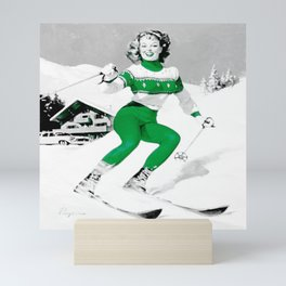 Snow Bunny Pin Up Girl Green Mini Art Print