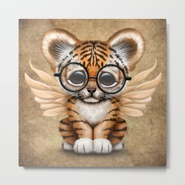 Tiger Cub with Fairy Wings Wearing Glasses Metal Print