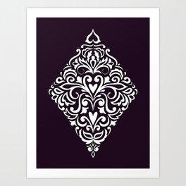 white damask rhombus Art Print