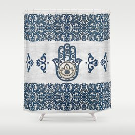 Hamsa Hand Hand of Fatima blue wood Shower Curtain
