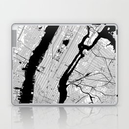 New York City Black and White Map Laptop & iPad Skin