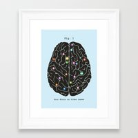 games Framed Art Prints featuring Your Brain On Video Games by Terry Fan