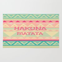 hakuna Area & Throw Rugs featuring Hakuna Matata by Kristi Kaz