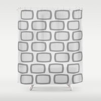 mid century modern Shower Curtains featuring Mid-Century  Modern Grey Rectangles by Kippygirl