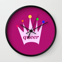 queer Wall Clocks featuring queer queen by eightjay