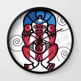 Atabeira Puerto Rican flag petroglyph Wall Clock