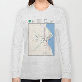 Milwaukee Transit System Map Long Sleeve T-shirt