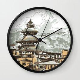 Himalayan Temple in Nepal Wall Clock
