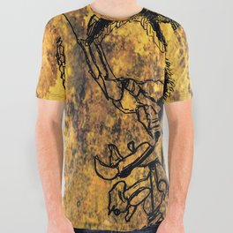 Crushed Skull Drawing All Over Graphic Tee