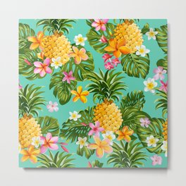 Vintage Pinapples and Tropical Flowers hand drawn illustration pattern. Metal Print