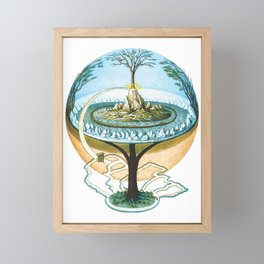 Ancient Norse Cosmology Conception of the Universe Flat Earth Unisex Softstile Flat Earth Shirt Framed Mini Art Print