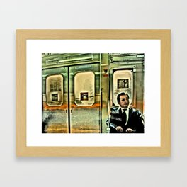 Tokyo Salary Man on a Train. Framed Art Print
