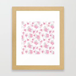 Pink pastel florals cute nursery baby girl decor floral botanical bouquet blooms Framed Art Print