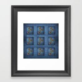 Denim Design With Jacobean Floral Framed Art Print