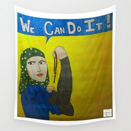 Muslim Rosie the Riveter Wall Tapestry