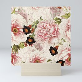 Vintage Peony and Ipomea Pattern - Smelling Dreams Mini Art Print