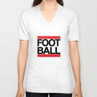 football V-neck T-shirts featuring FOOTBALL by Crewe Illustrations