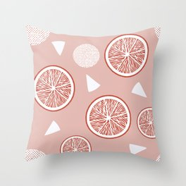 Orange and Triangle seamless pattern in Living coral tones, Orange Blossom Pattern Collection Throw Pillow