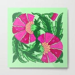 William Morris Jacobean, Fuchsia Pink and Green Metal Print
