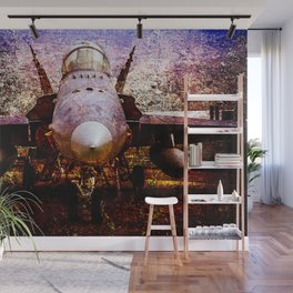 Frontal View Of A Modern Military Fighter Plane. Stylized Art Of Aviation Wall Mural