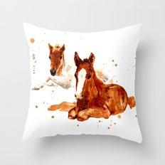 HORSE art, horse paintings, foal painting, watercolor horses, watercolour horse Throw Pillow