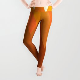 Modern Warming Abstract Geometric Mountains Landscape with Rising Sun in Hot Autumnal Ochre Colors Leggings