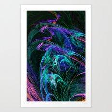 Fractal, blues Art Print