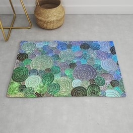 Abstract blue & green glamour glitter circles and polka dots for ladies Rug