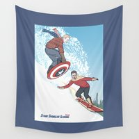 tony stark Wall Tapestries featuring Stark Spangled Sledding (Recipe for a Concussion) by KARADIN