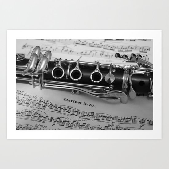 B Flat Clarinet in Black & White Art Print