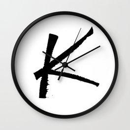 Letter K Ink Monogram Wall Clock