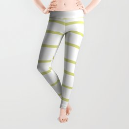 VA Lime Green - Lime Mousse - Bright Cactus Green - Celery Hand Drawn Horizontal Lines on White Leggings