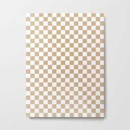 Small Checkered - White and Tan Brown Metal Print